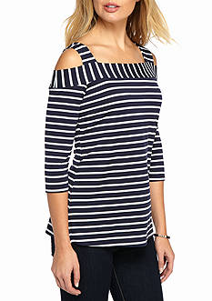 New Directions Navy White Stripe Cold Shoulder Top