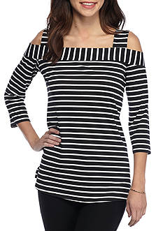 New Directions Black White Stripe Cold Shoulder Top