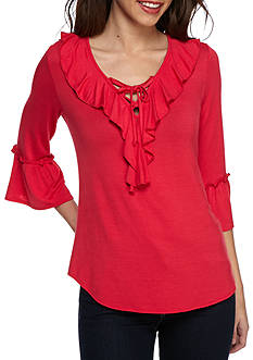 New Directions Ruffle Front Top