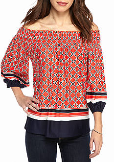New Directions Border Print Smock Neck Off-the-Shoulder Blouse