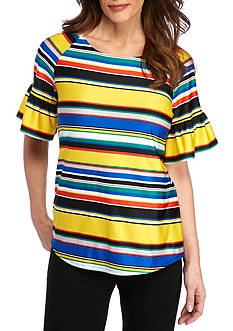 New Directions Multi Stripe Print Knit Top
