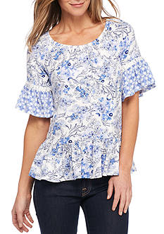 New Directions Twin Printed Crochet Trim Blouse