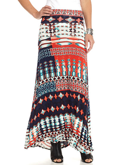 New Directions® Tie Dye Tribal Maxi Skirt