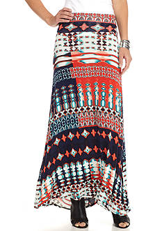 New Directions Tie Dye Tribal Maxi Skirt