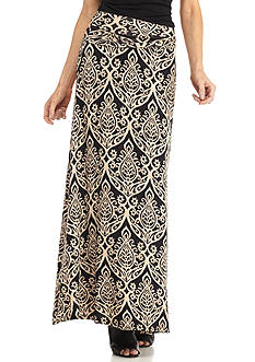 New Directions Scallop Medallion Print Maxi Skirt