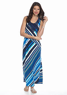 New Directions® Striped Pieced Lace Maxi Dress
