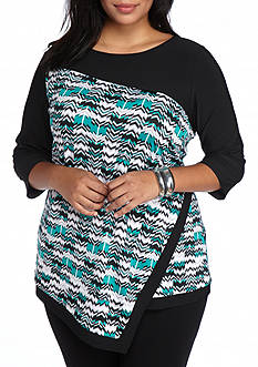 New Directions® Plus Size Layered Mixed Print Top