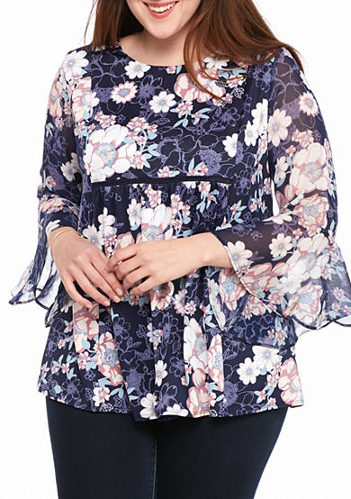 New Directions® Plus Size Knit To Woven Floral Top