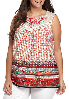New Directions® Plus Size Printed Knit Top