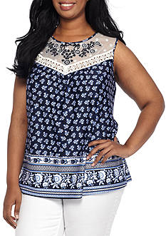 New Directions Plus Size Sleeveless Embroidered Yoke Printed Top