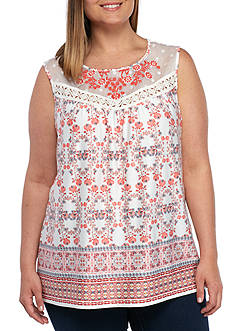 New Directions Plus Size Sleeveless Printed Top