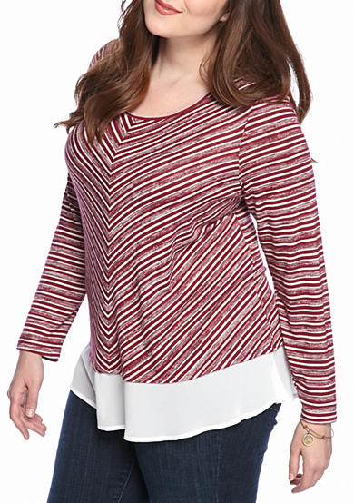 New Directions® Plus Size Striped Chiffon Hem Top