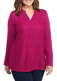 New Directions Plus Size All Over Lace Top