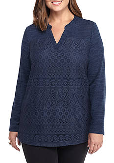 New Directions Plus Size All Over Lace V-Neck Top