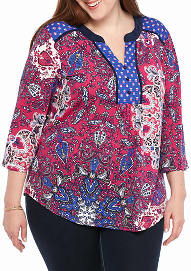 New Directions® Plus Size Bell Sleeve Twin Print Top