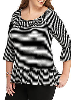 New Directions Plus Size Bell Sleeve Stripe Top