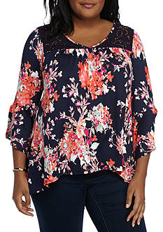New Directions Plus Size Floral Print Sharkbite Top