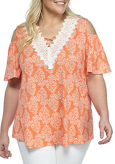 New Directions Plus Size Printed Cold Shoulder Top