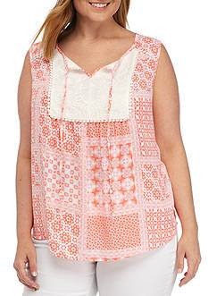 New Directions® Plus Size Sleeveless Printed Lace Bib Woven Top