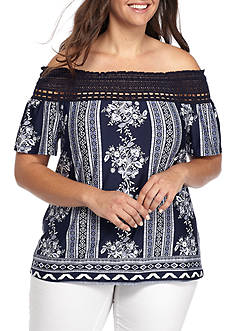 New Directions Plus Size Printed Off The Shoulder Top