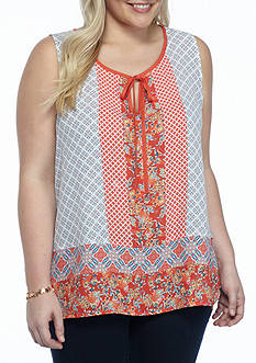 New Directions Plus Size Mixed Print Tassel Tie Top