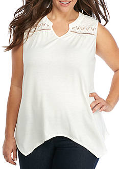 New Directions Plus Size Solid Sleeveless Knit Top