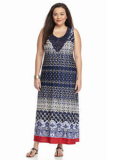 New Directions® Plus Size Crochet Trim Printed Maxi Dress
