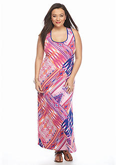 New Directions® Plus Size Ladder Back Geo Print Maxi Dress