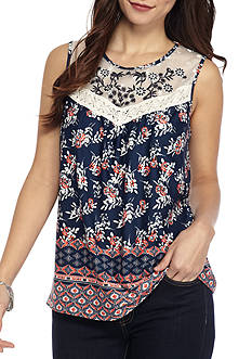 New Directions Petite Embroidered Yoke Mesh Top