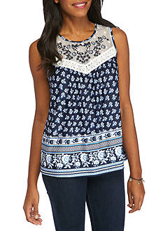 New Directions Printed Embroidered Yoke Tank