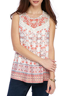 New Directions Petite Printed Embroidered Yoke Tank