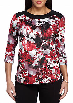 New Directions Petite Size Floral Print Top