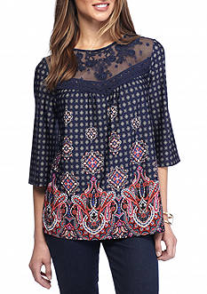 New Directions Petite Size Mesh Embroidered Yoke Print Top