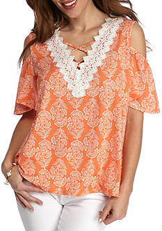 New Directions Petite Lace Yoke Printed Cold Shoulder Top