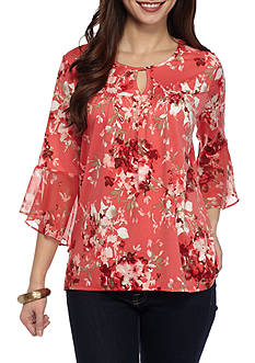 New Directions Petite Floral Keyhole Neck Top