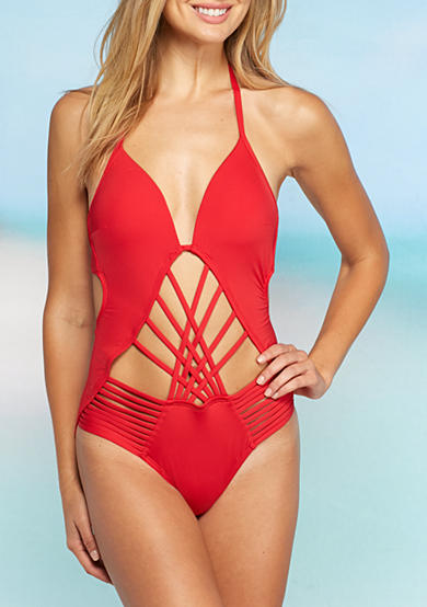 Kenneth Cole Shirr Thing Strappy One Piece Swimsuit