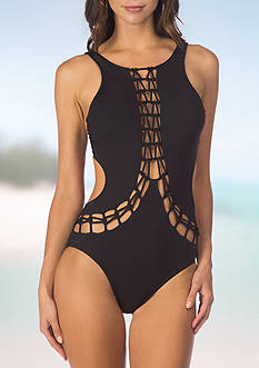 Kenneth Cole Sexy Solids Lace Front One Piece Swimsuit