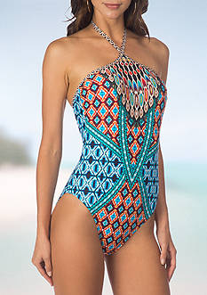 Kenneth Cole Tribe Vibe High Neck One Piece Swimsuit