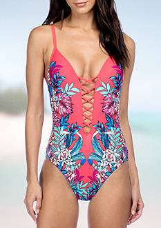 Tropical Tendencies Push Up One Piece Swimsuit