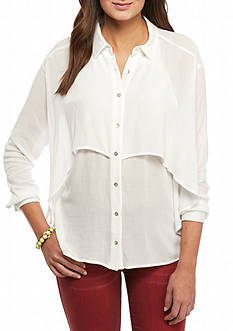 HYFVE Long Sleeve Drapey Button Down Top