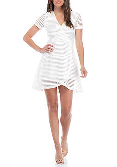 HYFVE Short Sleeve Shadow Stripe Fit Flare Dress