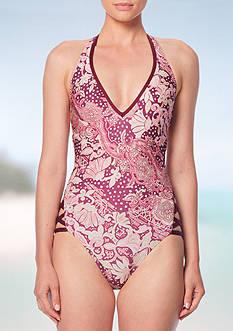 Carmen Marc Valvo Ornamental Floral Halter One Piece Swimsuit