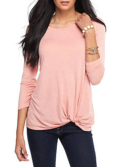 Red Camel Solid Long Sleeve Knot Detail Top