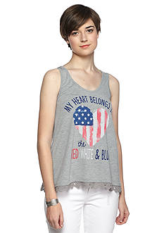 Red Camel Flag Heart Tank- Red White and Blue