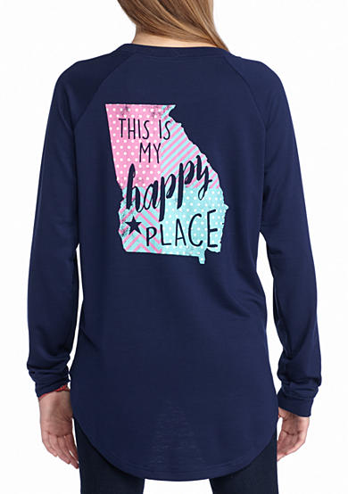 Red Camel® This is My Happy Place Georgia Long Sleeve Raglan Tee