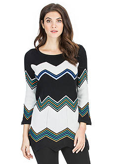 joan vass Chevron Striped Sweater