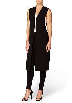Joan Vass New York Sleeveless Open Faux Belt Jacket