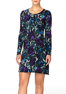 joan vass Long Sleeve Scoop Neck Swing Dress