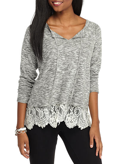 Society Girl Soft Knit Visible Lace Slip Top