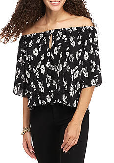 Society Girl Bodre Peasant Off The Shoulder Printed Blouse